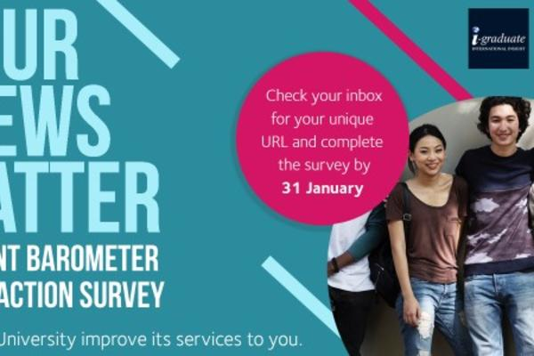 "Image of Barometer advert with students smiling and text that reads ""your views matter"""